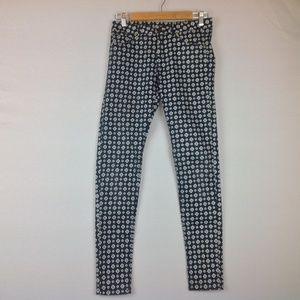 H&M Skinny Pants Women 8 Blue White Stretch